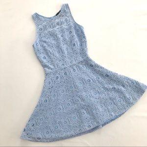 AQUA baby blue lace a-line mini dress